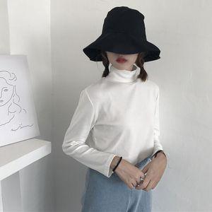 夏季女装韩版百搭纯色高领磨毛打底衫女修身显瘦长袖T恤学生上衣