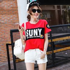 歌家纯棉韩版短袖t恤女夏季新款女装韩版字母百搭宽松体恤上衣