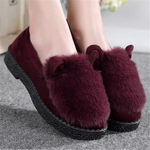 秋冬季女鞋雪地靴女短靴厚底磨砂妈妈棉鞋老北京布鞋女加绒毛毛鞋雪地靴