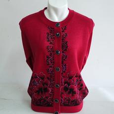 中老年女秋冬装妈妈装毛衣开衫外套加厚圆领奶奶装羊毛针织衫长袖