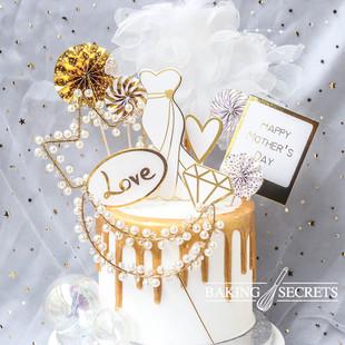 烘焙蛋糕派对装饰 母亲节白金婚纱礼服LOVE插牌 生日插件白纱花环