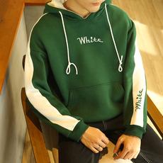 学院风字母刺绣青少年连帽卫衣冬季宽松长袖拼接外套男运动套头衫