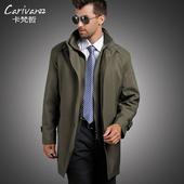 立领风衣男外套 加肥加大码 商务男士 中长款 秋冬新款 风衣中老年男装