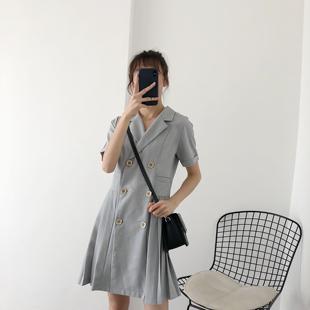 新款灰色西装裙小个子女夏双排扣高腰显瘦棉麻连衣裙百褶a字短裙