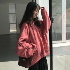 冬装女装韩版中长款原宿风字母宽松加绒加厚连帽超火卫衣上衣外套