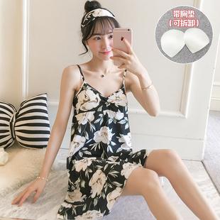 吊带睡裙女夏季纯棉性感带胸垫大码宽松薄款可爱连衣裙子夏天睡衣