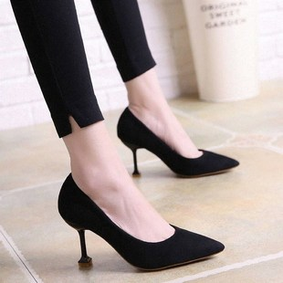 2018 spring new pointed high-heeled shoes suede shallow mo