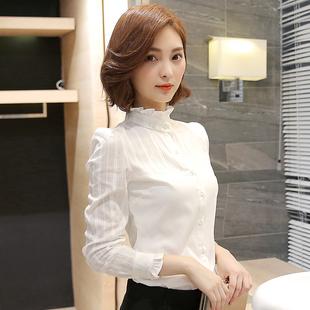 长袖衬衫女立领2018秋季新款纯棉职业修身打底上衣加绒韩范白衬衣