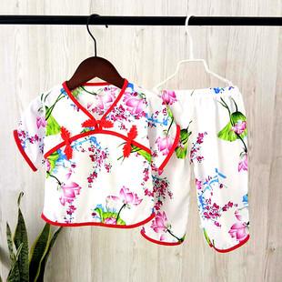 夏薄女童唐裝短褲套裝寶寶古裝漢服中國風綿綢2歲小童禮服純棉綢3