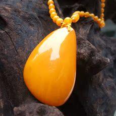 天然玉石佳盛行纯手工鸡油黄蜜蜡琥珀吊坠项链项坠毛衣链