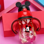 迪士尼儿童水杯吸管杯ppsu学饮杯防摔刻度2岁1婴儿水瓶宝宝喝奶杯