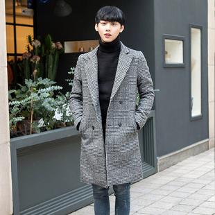 冬季羊绒大衣青年纯色男士呢子中长款韩版双排扣休闲翻领大衣外套