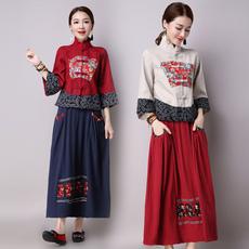 民族风复古文艺拼色唐装上衣+棉麻半身长裙中式服装民国两件套装