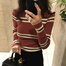韩国代购2017秋装新款彩色条纹针织衫女拼色修身显瘦薄款套头毛衣