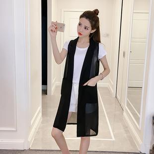 2018夏季新款中长款雪纺西装马甲女韩版大码薄款坎肩无袖开衫外套