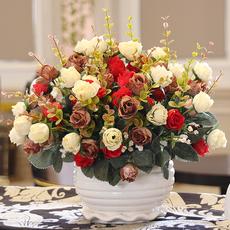 客厅卧室餐桌茶几摆件假花艺装饰绢花 干花套装摆设摆设仿真花束