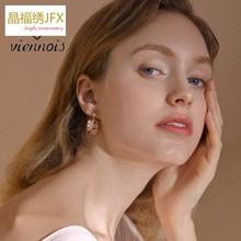 威妮华欧美复古花朵镶嵌方形耳坠时尚大方s925银针耳环女