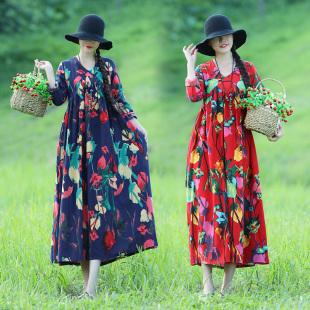 2019春季新款民族风复古大码女装棉麻长袖中长款修身显瘦连衣裙