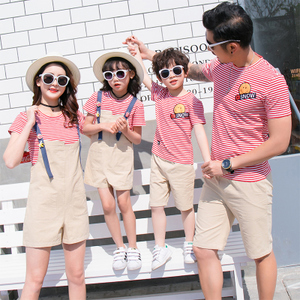 亲子装2018新款潮母女装夏装季一家三口背带裤全家装母子短袖套装亲子装