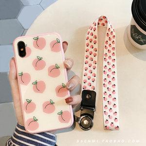 夏日清新桃子苹果7plus挂绳<span class=H>手机壳</span>iPhoneX玻璃新款6s粉色8p软壳女