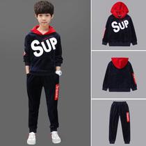 2018新款 男童秋装 金丝绒儿童中大童洋气加绒两件套韩版 童装 套装