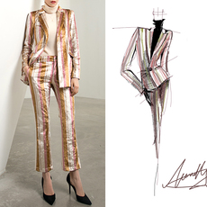 小西装女韩版中长款2017新款原创设计修身时尚条纹金丝绒西装外套