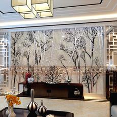 时尚高端家装艺术玻璃钢化电视沙发背景墙深雕银箔烤漆黑白树