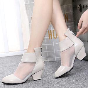 春秋单靴网靴<span class=H>真皮</span>镂空女短靴粗跟网纱透气<span class=H>女靴</span>子高跟<span class=H>圆头</span>大码女鞋