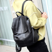 Soft leather shoulder schoolbag woman 2019 new fashion leisure Korean version Travel Backpack simple lady bag