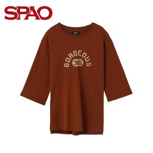 SPAO<span class=H>女装</span>T恤2018夏季新款时尚印花中长款T恤韩式<span class=H>潮流</span>T SPRW837G02