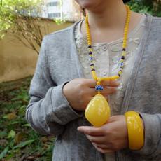 天然珠宝纯手工鸡蛋黄蜜蜡琥珀超大吊坠短款项链毛衣链浮盐水