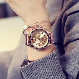 玛莎莉手表女时尚潮流时装表欧美大表盘腕表防水款钢带三眼石英表女士手表