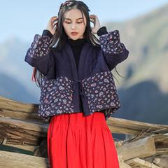 冬季民族风复古女装新款棉麻短款加厚棉衣宽松棉服外套保暖棉袄女