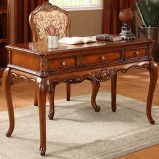 欧式实木书桌书房办公桌椅组合仿古电脑桌子简约写字台美式小书桌