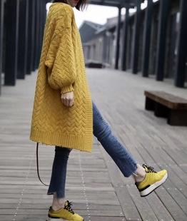 麻花中长款粗毛线开衫女2018早秋新款韩版宽松冬款针织毛衣外套厚
