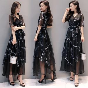 2017新款女装夏装长款不规则连衣裙女黑色雪纺短袖v领裙修身长裙女装