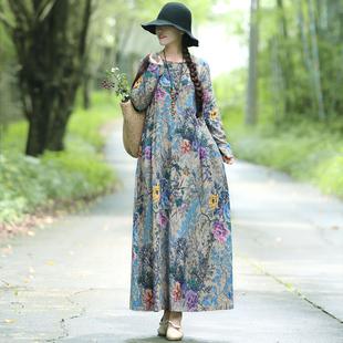 春裝新款民族風女裝復古文藝森女寬松大碼顯瘦長袖印花連衣裙長裙
