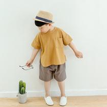 男童夏装 短袖 棉麻宝宝韩版 夏季童装 2018新款 套装 儿童休闲两件套潮