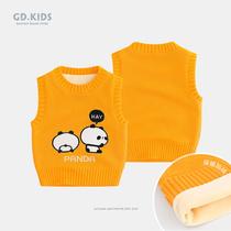 宝宝毛衣冬季婴儿童毛线马夹秋冬男童针织棉背心女童外穿马甲加绒