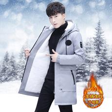 冬季新款外套男韩版修身加绒夹克男士中长款加厚风衣学生潮流大衣