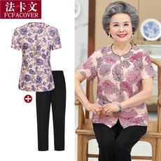 中老年人女装夏季60-70岁妈妈短袖两件套装老人奶奶装夏装上衣服