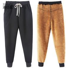 大码女装2017胖妹妹冬装新款宽松加绒哈伦裤羊羔绒加厚休闲运动裤