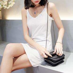 白色吊带背心女夏内搭中长款内衬打底裙长款纯棉吊带裙性感衣衬裙