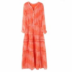 昆凌同款连衣裙旅游度假V领雪纺印花碎花桔色波西米亚长裙沙滩裙