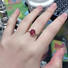 天然红碧玺戒指18K金玫瑰金镶嵌南非钻石 彩色宝石女 520礼物