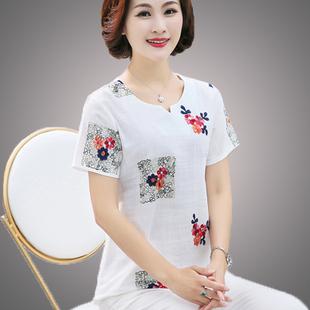 中老年女装夏装棉麻短袖T恤中年人妈妈装40-50岁大码夏季上衣宽松