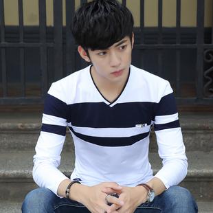 男士长袖T恤V领韩版帅气男装纯棉T桖春季薄款外穿打底衫内搭衣服
