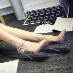 2017春夏尖头高跟鞋凉鞋粉色婚鞋细跟凉鞋中跟侧空女鞋10cm单鞋OL凉鞋女