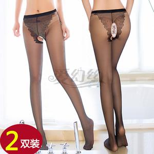 2双装情趣蝴蝶档连裤袜比基尼诱惑性感超薄开裆大码黑丝袜美腿女