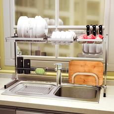 帅仕 304不锈钢折叠碗架水槽沥水架 厨房用品置物架收纳碗碟架